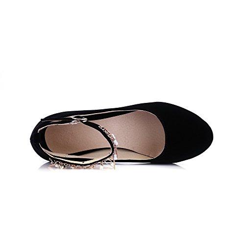 VogueZone009 Femme Boucle Suédé Rond à Talon Correct Couleur Unie Chaussures Légeres Noir