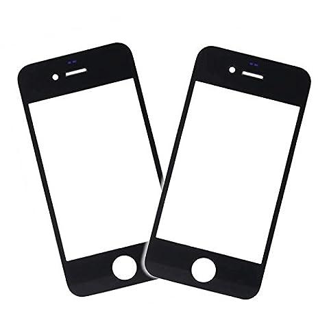 SPARFIX® - 2 x Vitre Avant Noir en Verre sur l'Ecran LCD Pour iPhone 4/4S