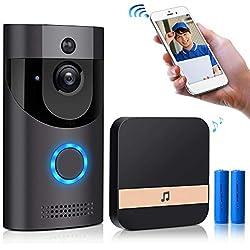 Etanche Electrique Sonnette vidéo sans Fil Exterieur,720p HD Security Smart Sonnette Caméra PIR Motion Detection en Temps réel Audio bidirectionnel pour iOS Android