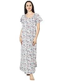 bb0e386b52 Patrorna Women s Shift Maternity Nighty Night Dress Gown in White Print (Size  S-7XL