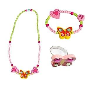 Bino 3 TLG. Set Holzschmuck Mädchenschmuck Kinderschmuck Motiv Schmetterling Gelb – Halskette Armband Ring