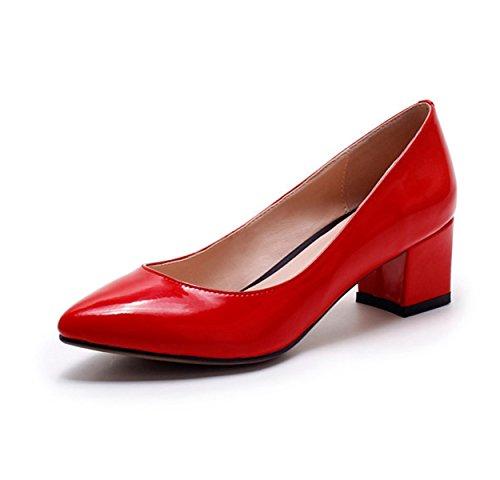 Damen Pumps Kunstleder Elegante Blockabsatz Bequeme Leichtgewicht Klassische Lässige Anti-Rutsch Damen Pumps Rot