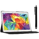 ebestStar - Cover Compatibile con Samsung Galaxy Tab S 10.5 SM-T800, T801 T805 Custodia Protezione Pelle PU con Supporto Rotazione 360 + Penna, Nero [Apparecchio: 247.3 x 177.3 x 6.6mm, 10.5'']