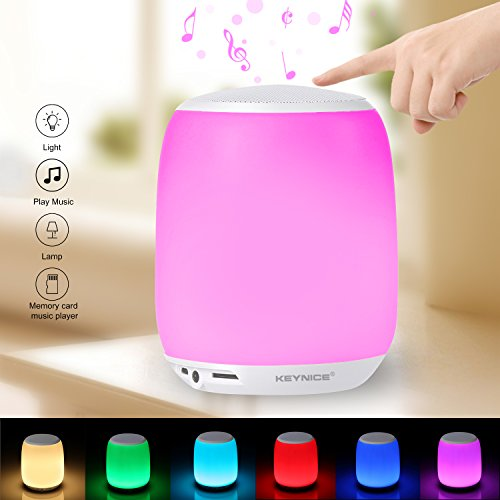 Preisvergleich Produktbild KEYNICE Bluetooth Lautsprecher LED Nachtlicht Farbwechsel Tischlampe mit Touch Schalter, Eingebautes 4000 mAh USB wiederaufladbar Batterie Tischleuchten für Babys Zimmer, Indoor & Outdoor, Ideale Geschenk für Frauen und Kinder (weiß) …