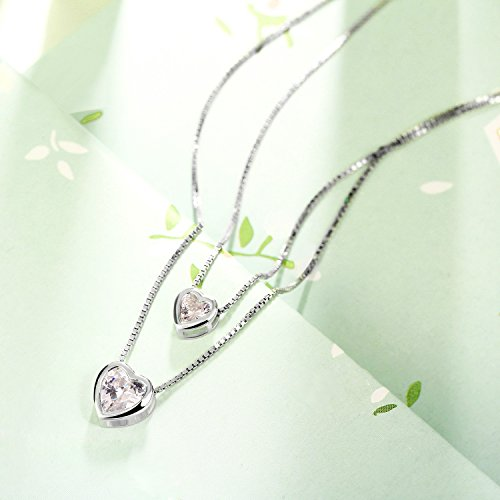 """J.Rosée 925 Sterling Silver 3A Cubic Zirconia """"Double Layer Heart"""" Pendant Necklace for girls/women"""