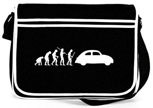 Shirtstreet24, EVOLUTION KULT AUTO, Retro Messenger Bag Kuriertasche Umhängetasche Schwarz