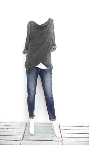 Damen Blusenshirt Langarm Shirt Bluse Wasserfallausschnitt (8140) Anthrazit grau
