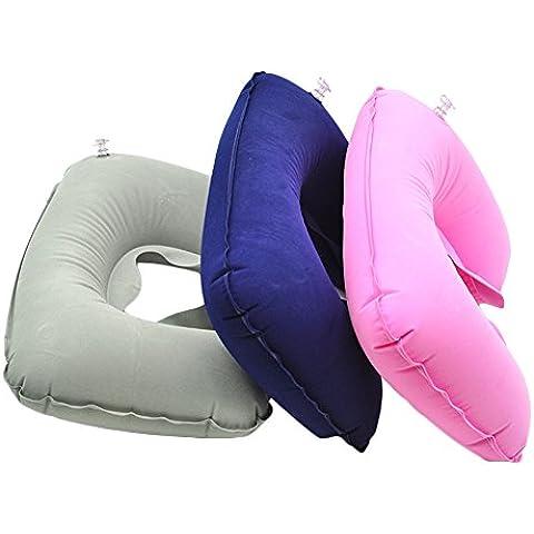 cuteco inflable almohada de viaje cojín de aire cuello resto en forma de U resto Compact planeflight random