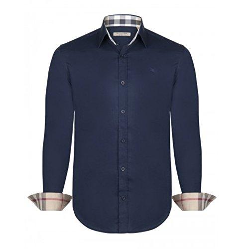 BURBERRY Camicia Uomo Manica Lunga Colore Navy (L)
