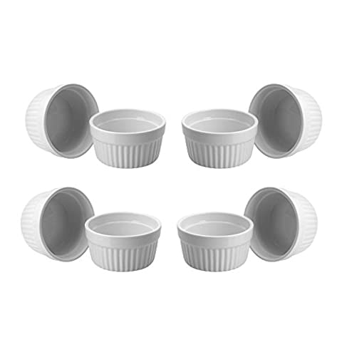 ToCi 8 weiße Creme Brulee Förmchen 9 cm   Schälchen für Ragout Fin   Pastetenform aus Keramik   auch für Schoko-Souffle