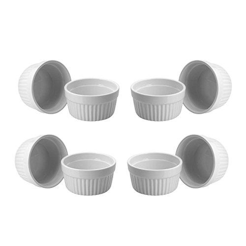ToCi 8 weiße Creme Brulee Förmchen 9 cm | Schälchen für Ragout Fin | Pastetenform aus Keramik | auch für Schoko-Souffle - Ramekin