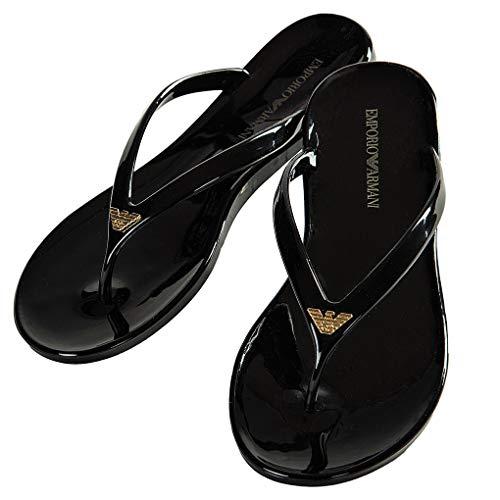 Emporio Armani Damen Badesandalen - Slipper, Flip Flops, einfarbig (36 EU, schwarz)