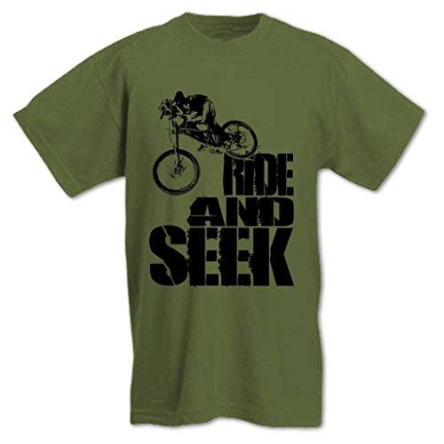 Herren Ride and Seek Mountain Biking T-Shirt Army Grün M -