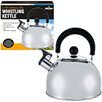 Milestone Camping Men's 65580 Stainless Steel Whistling Kettle, Silver, 2 litres