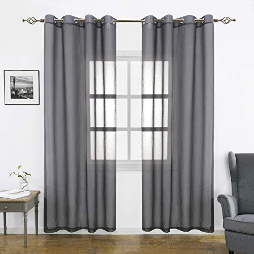 FLOWEROOM Transparent Voile Vorhänge mit Ösen 2er Set, Grau, 245x140 cm