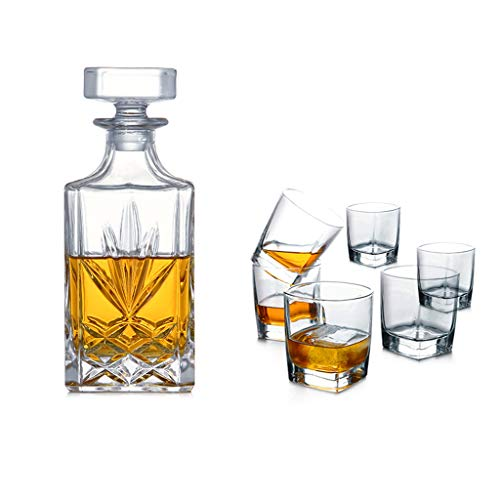 7Pcs Crystal Whiskey Dekanter Set bestehend aus Whiskey und Double Old Fashioned Whiskey Tumbler Gläser (Farbe : D22*7.8 * 5cm709ml) 8 Double Old Fashioned