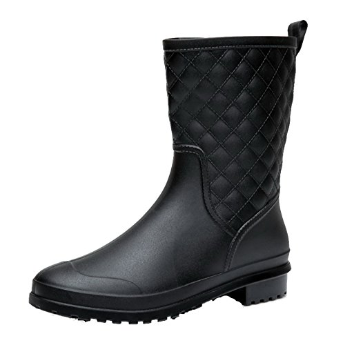 AgeeMi Caoutchouc Carré Imperméables Noir Couleur Unie Bottes Shoes Femme PwqAgPTr