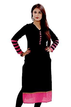 Vatsla Enterprise Women's Cotton Free Size Kurta (VKR-51001C_Black)