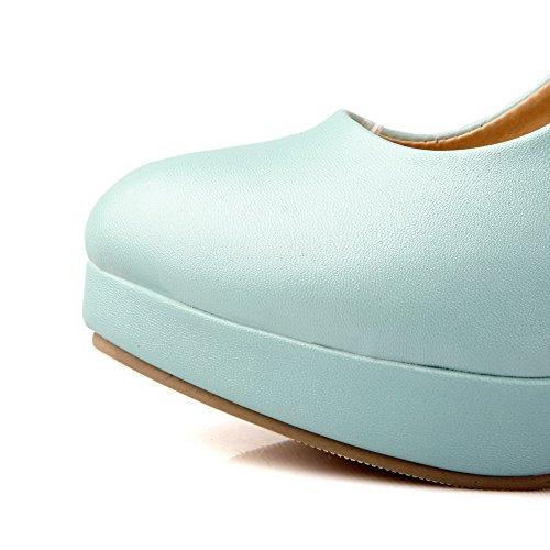 AllhqFashion Femme à Talon Haut Matière Souple Couleur Unie Boucle Rond Chaussures Légeres Bleu