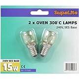 Backofenlampe 300'C 240V SES Sockel 15W Leuchtmittel X 2Lampen