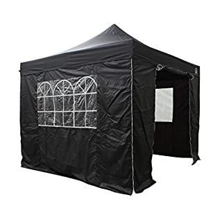All Seasons Gazebos, Choice Of 5 Colours and 2 Sizes, Heavy Duty, Fully Waterproof, Premium Pop Up Gazebo With 4 x Zip Up Side Panels and carry bag (Black, 3m x 3m) …