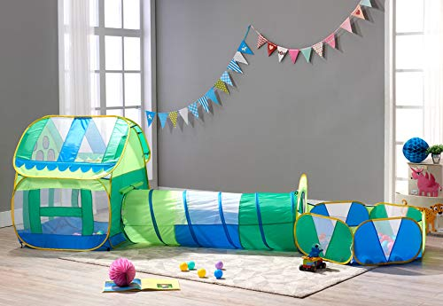 moontail Kids Play Tent Huge Green Pop Up Play House Indoor Outdoor Tunnel Pool Ball Pit(Without balls)