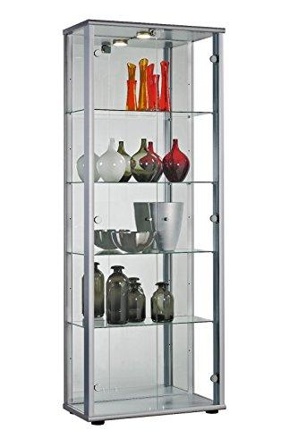 Glasvitrine Sammlervitrine Vitrine LED beleuchtet Schloß Spiegel Weiss Schwarz Silber (Silber)