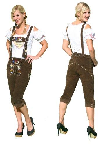 Damen Kniebund Lederhose in Braun Größe 36