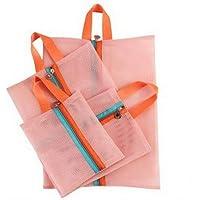 4 Stücke Tragbare Mesh Einkaufstasche Mäppchen Packbare Kulturbeutel Tote Unterwäsche Organizer Aufbewahrungstasche Farbe Rosa