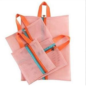 SUNREEK 4 Stücke Tragbare Mesh Einkaufstasche Mäppchen Packbare Kulturbeutel Tote Unterwäsche Organizer Aufbewahrungstasche Farbe Rosa