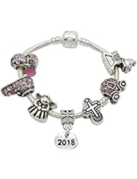 Baby Girl Christening Keepsake Momento Silver Plated Charm Bracelet with Poem,Gift Card & Gift Box