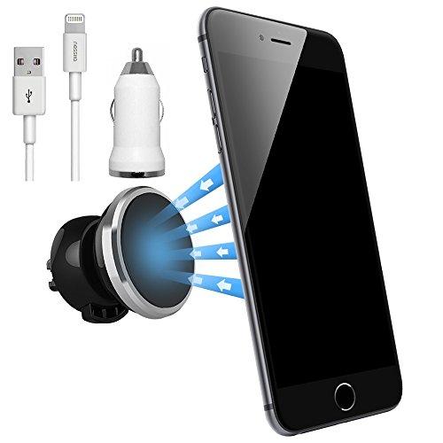 NessKa® Premium Magnetico Universale Staffa di ventilazione auto con funzione di ricarica + caricabatteria da auto cavo usb/cavo di ricarica per Apple Iphone 66s/iphone 6Plus/6S, SE Plus/5/5S/5°C,