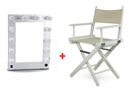 Zstyle specchi make up 70x60 specchietti trucco postazione luci estetica make-up + sedia poltrona legno regista