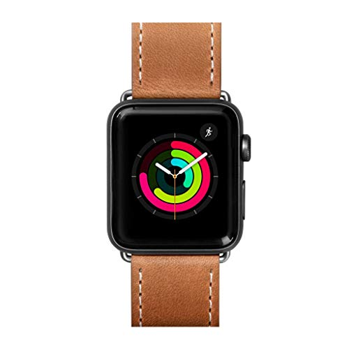LAUT   Safari Watch Strap for Apple Watch Series 1/2/3/4   Top Grain Vegetable Tan Genuine Leather   Stainless Steel Clasp & Connectors (38mm / 40mm • Tan) (Tan Watch Strap Leather)