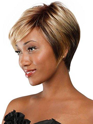 Meylee Perücken Persönlichkeit kurz glattes Haar Gradient Kunsthaar Perücken für schwarze ()
