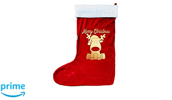 Personalised Santa Stocking Gold Foil Baby First Christmas White