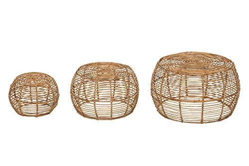DuNord Design Rattan Couchtisch rund 3er Set Natur Handarbeit Beistelltisch