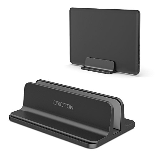 OMOTON Support Ordinateur Portable, Support Ajustable pour Macbook/Notebook, Claviers, PC, Smarthphone Dock Stand Vertical en Alliage d'Aluminium Noir