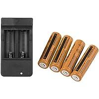 Moliies 4 x 18650 3.7V 9900mAh Batería Recargable de Iones de Litio + 4 Ranuras Cargador Inteligente con indicador LED de 4 enchufes EE. UU.