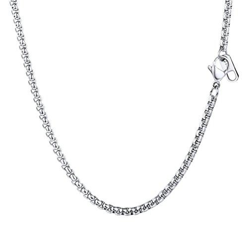 Collier Simple pour Homme PROSTEEL Chaîne de Cou en Acier Inoxyadable 316L Maille Vénitienne Arrondie Bijoux Fashion 8 Taille au Choix 3MM de Largeur(Argenté-20'/51cm)