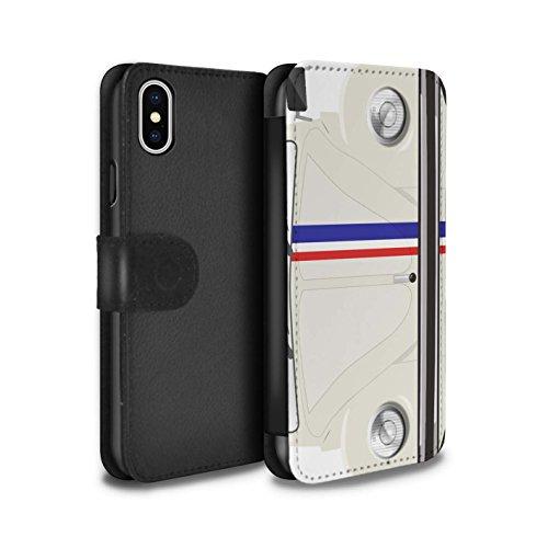 Stuff4 Coque/Etui/Housse Cuir PU Case/Cover pour Apple iPhone X/10 / Perle Blanche Design / Rétro Coccinelle Collection Rayures Course