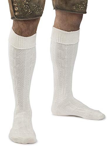 Trachtensocken Klassik Zopfmuster Trachten Strümpfe Lederhose Socken - weiss, beige,natur oder grün (39-42, Beige)