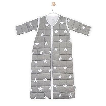 41HlX83mWxL. SS416  - Jollein 016-541-64966Saco de dormir para las 4estaciones para Little Star con mangas desmontables, 90cm, Gris