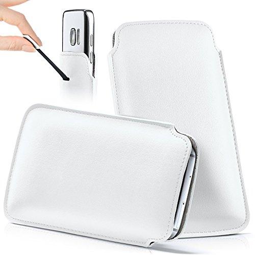 moex Samsung B2710   Hülle Weiß Sleeve Slide Cover Ultra-Slim Schutzhülle Dünn Handyhülle für Samsung B2710 Case Full Body Handytasche Kunst-Leder Tasche