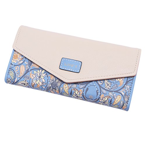 Damara Elegant Blume Muster Frisch Fashion Süß Elegant Damen Portemonnaie Geldbörse, Schwarz - 2