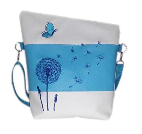 pinkeSterne ☆ Umhängetasche Handtasche Schultertasche Kunstleder Bestickt Stickerei Handmade FoldOver Weiß Türkis (Bestickte Personalisierte Tote Tasche)