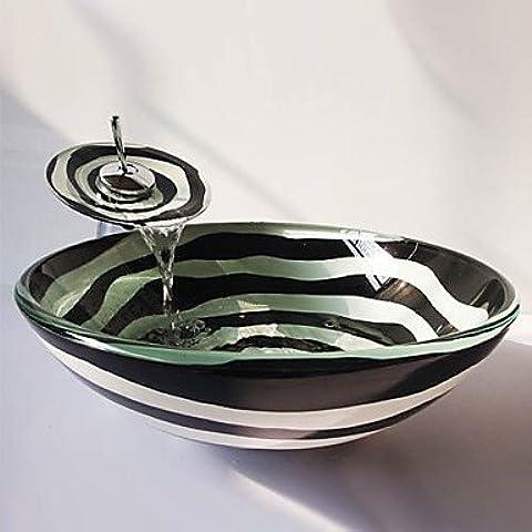 JHS Spirale in bianco e nero rotondo in vetro temperato rubinetto lavandino e cascata, pop-scarico e installare l'anello