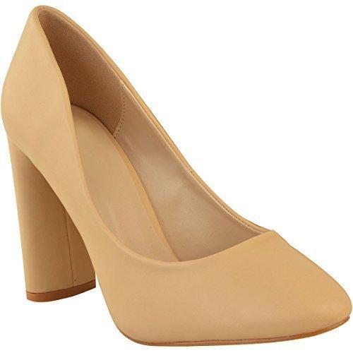 Fashion Thirsty heelberry Mujer Nuevo Tacón EN Bloque Alto Zapatos de Salón Sandalias Formal Elegante Oficina Talla - Carne Piel Sintética, 38