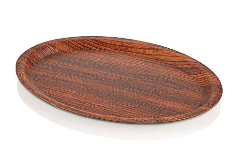 Plateau série Plat en polystyrène en bois effet bois, léger et très stable, flexible, antibactérien, utilisation alimentaire et étanche, qualité premium/28,5 x 20,5 x 1,5 cm