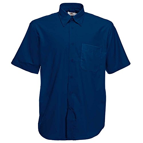 Fruit of the Loom Mens Short Sleeve Oxford Work Shirt Navy